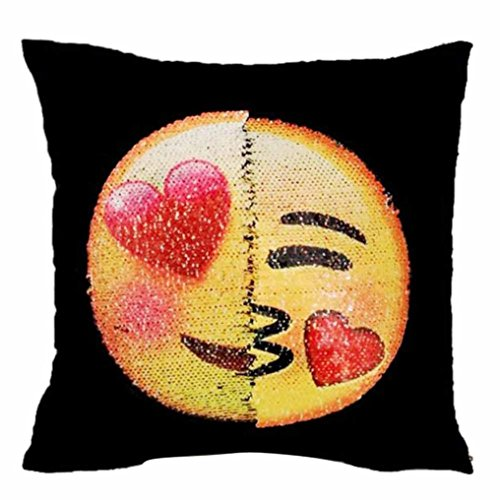 Kimloog Hot Sale! Two Sides Two Moods Emoji Throw Pillow Cases Home Decor Cushion Covers Square Pillowcases (D)