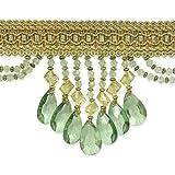 Expo International 10-Yard Isabella Scalloped Bead Fringe Trim, Sea Green
