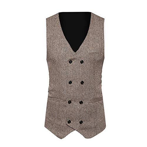 Topgee Men Formal Tweed Check Double Breasted Waistcoat Retro Slim Fit Suit Jacket Slim Fit Suits Vest Khaki