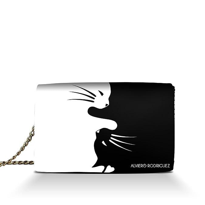2c65a60948 Alviero Rodriguez Borsa Donna Gatti Bianco e Nero Yin Yang Cats in Vera  Pelle (Catena Argento): Amazon.it: Scarpe e borse