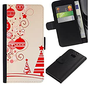 iKiki Tech / Cartera Funda Carcasa - Beige Christmas Winter Merry Tree - HTC One M8