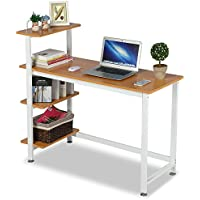 Topeakmart computer desk compact desk with 4 shelves Home office study table Brown