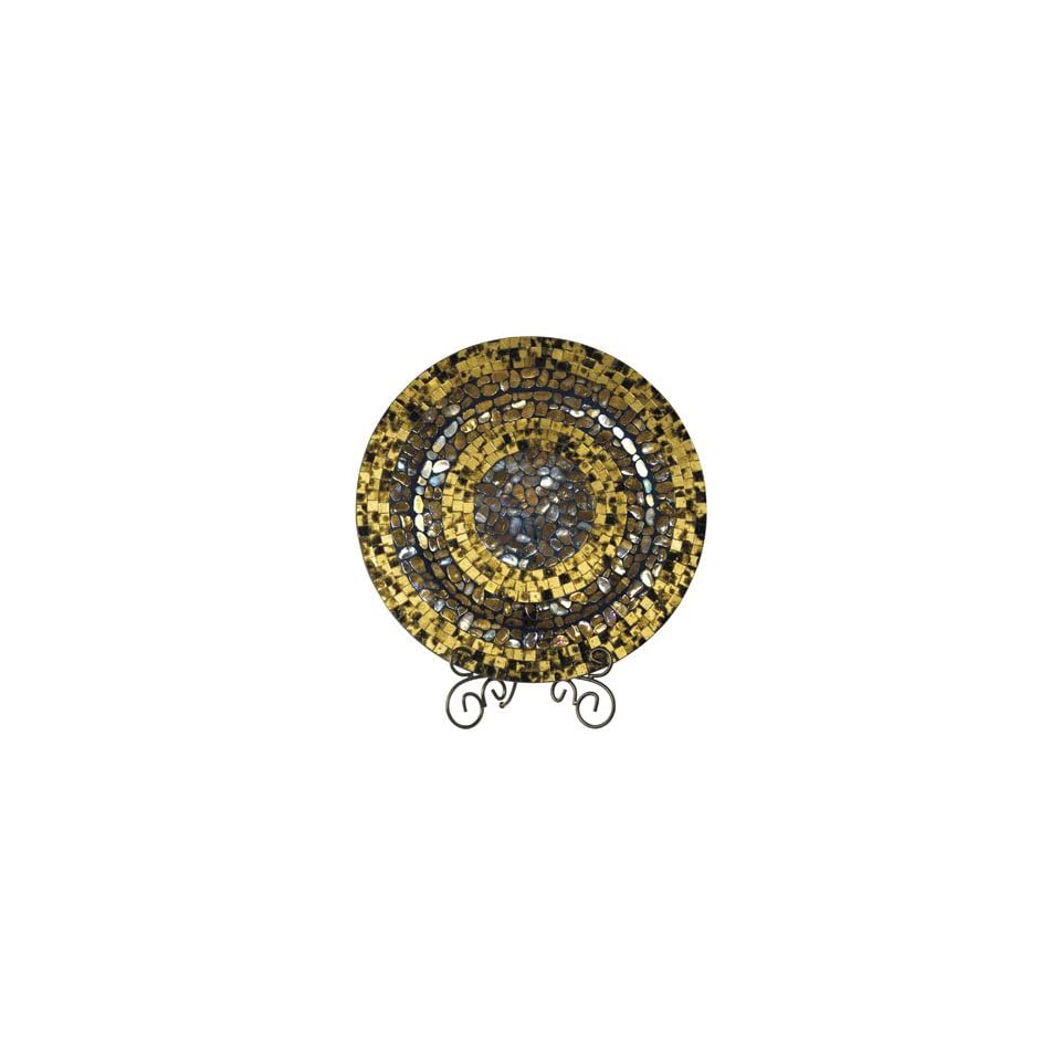 Dale Tiffany Antique Gold Mosaic Art Glass Charger