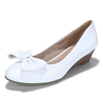 a77ff9bda88 IDIFU Women s NAT45 Comfortable Wedge Heel Elastic Round Toe Office  Ceremony Bow Court Shoes (3.5