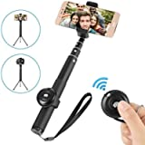 Bluetooth Selfie Stick,Siroflo 2 in 1 Mini Pocket Extendable Monopod with Separable Wireless Remote,180 Degree Rotatable…