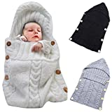 Colorful Newborn Baby Wrap Swaddle Blanket, Oenbopo Baby Kids Toddler Knit Blanket Swaddle Sleeping Bag Sleep Sack Stroller Wrap for 0-12 Month Baby (White)