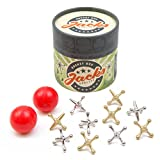 Rocket Box Jacks Game: Retro, New Vintage, Classic Game of Jacks, Gold and Silver Toned Jacks, Two Red Bouncy Balls and Set of...