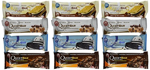 Quest Nutrition Protein Bar Chocolate Variety Pack: Chocolate Chip Cookie Dough, S'mores, Cookies & Cream, and Chocolate Brownie - Pack of 12 (3 of Each)
