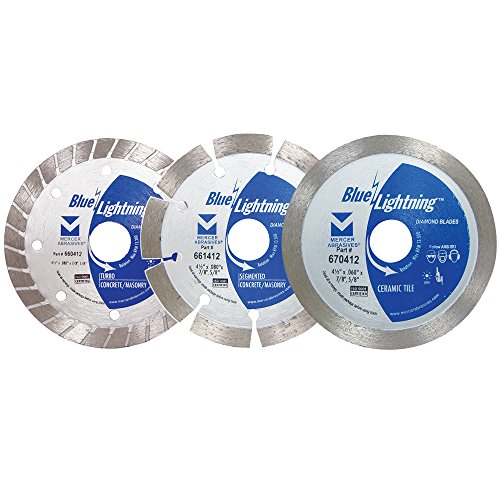 """Mercer Industries 66P412 4-1/2"""" Diamond Blades:1 each Segmented, Turbo and Tile Combo Pack"""
