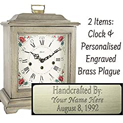 Qwirly Store: Austen Mechanical Mantel Clock by Hermle 22518WH0340 & Personalized Engraving Brass Plaque - Classic Decorative Antique Style Table Clock with Westminster Chime Movement - Antique White