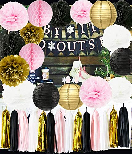 Ooh La La Baby Shower Decorations Pink Gold White Black Paris Party Decorations Tissue Paper Pom Pom Honeycomb Ball/Paper Lantern for Girls' Birthday Decorations French/Parisian Birthday Party Ideas -