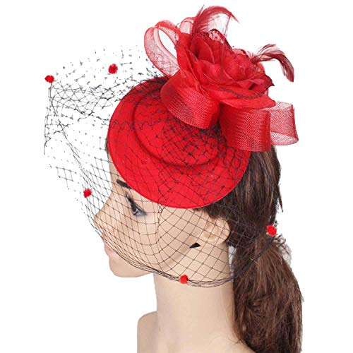 6color Fascinators Headpiece Occasion Hair Accessories Cocktail Party hat Suit All Season,White ()