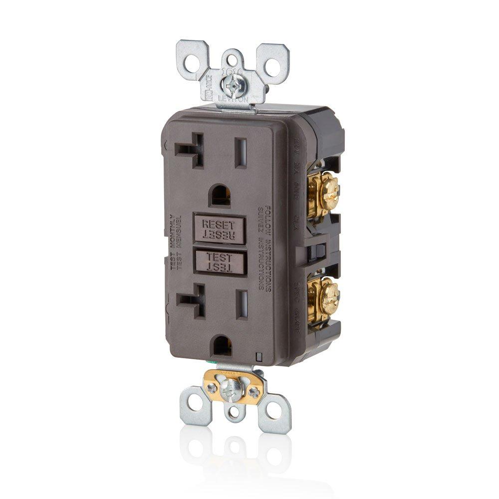 Leviton GFTR2-E SmarTest Self-Test SmartlockPro Slim GFCI Tamper-Resistant Receptacle with LED Indicator Black 20-Amp