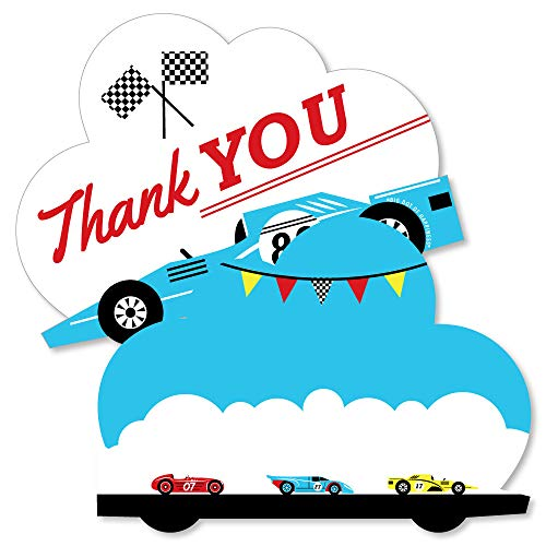(Let's Go Racing - Racecar - Shaped Thank You Cards - Race Car Birthday Party or Baby Shower Thank You Note Cards with Envelopes - Set of 12 )