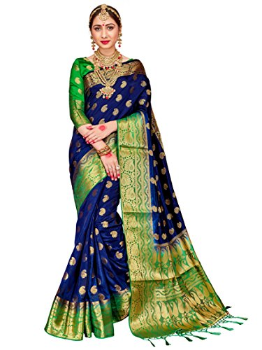 Women Banarasi Art Silk Woven Work Saree l Indian Wedding Ethnic Wear Sari & Blouse Piece (Navy Blue) ()
