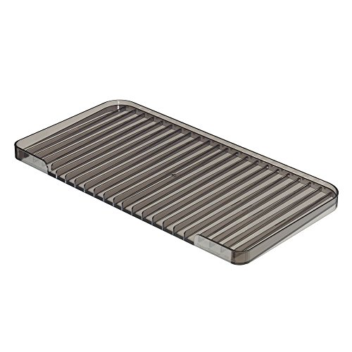 InterDesign Linus Kitchen Dish Drain Board for Pots, Pans, Glasses & Bowls, Smoke Gray