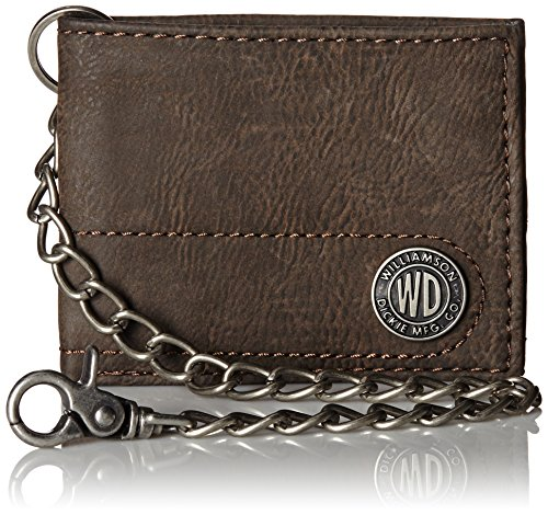 Dickies Mens Wallet with Chain - Leather Security Bifold Truckers Classic Slim Thin Single Fold with ID Window,Brown,One sizee