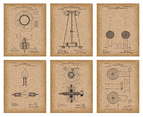 Collectibles and Video Inc. Tesla Wall Art - Nikola Tesla Posters - Set of 6 Tesla Patent Prints 8x10 Old Antique Parchment Look - Great Engineer Gifts