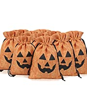 Halloween Burlap Gifts Bags, 10PCS Candy Bags with Drawstrings, Halloween Treat Bags with Pattern for Kids