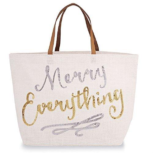 Christmas Merry Everything Jute Tote Bag, 14 1/2'' x 22''.