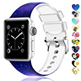 Moretek Colorful Band Compatible for Apple Watch 38mm 42mm 40mm 44mm,Soft Silicone Sport Replacement Strap for iWatch Series 5 4 3 2 1, Nike+, Edition Women Men (Flower 1, 38/40mm)