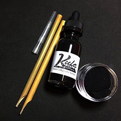 Arabic Calligraphy set 2 Reed pens, Black Ink and plastic ink jar