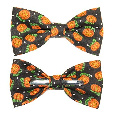 (Men's Black/Orange Pumpkins Clip On Cotton Bow Tie Halloween)