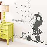 EMIRACLEZE Christmas Gift Blow Bubbles Girl Removable Mural Wall Stickers Wall Decal for Kids Nursery Room Wall Decor