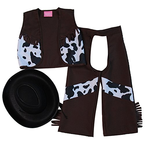 Storybook Wishes Classic Cowboy Chaps & Vest or Cowboy Chaps & Vest and Hat (6/8, Dark Brown/Black) - Kid Cowboy Chaps