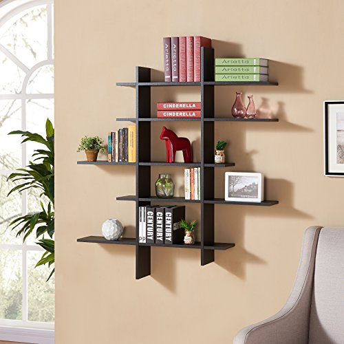 Review Danya B. Five Level Black Asymetric Wall Shelf By Danya B by Danya B