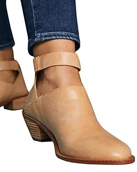 8a9ba014097a8 Amazon.com: Women's Fall Cutout Ankle Booties Back Zipper Buckle ...