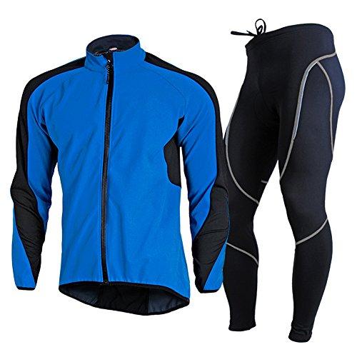 EDTara Riding Suit for Men Cycling Jersey Bib Warm Long Pants + Long Sleeve Waterproof Coat Jacket Jersey Long Sleeve Bib
