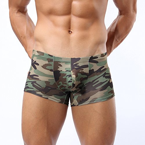 Forest Mens's Boxer Boxer,Sexy Camouflage Military Low Rise U Pouch (Exposed Sheer)