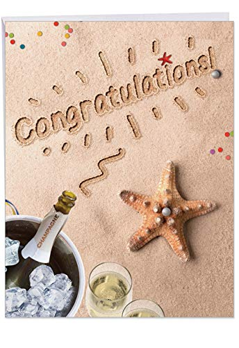 J6113CCGG Jumbo Congratulations Card: Beach Notes Featuring Sandy Scenes of the Summer by the Beach, With Envelope (Large Size: 8.5