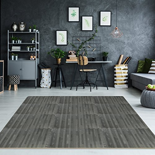 Sorbus Wood Floor Mats Foam Interlocking Wood Mats Each Tile 4 Square Feet 3/8-Inch Thick Puzzle Wood Tiles with Borders – for Home Office Playroom Basement (12 Tiles 48 Sq ft, Wood Grain - Gray) by Sorbus (Image #3)