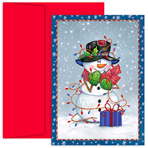 (Masterpiece Hollyville 18-Count Christmas Cards in Keepsake Box, Snowman Wrapped In Lights)