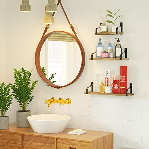Love-KANKEI Floating Shelves Wall Mounted Set of 3, Rustic Wood Wall Storage Shelves for Bedroom, Living Room, Bathroom… 4