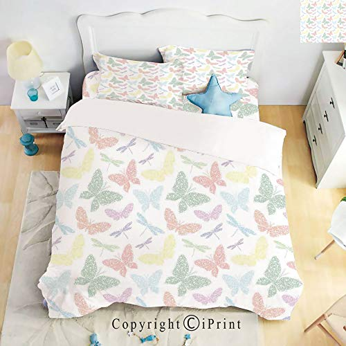 - Homenon Bedding 4 Piece Sheet,Colorful Different Sized Speckled Butterfly and Dragonfly Figures Wings Image,Multicolor,Full Size,Wrinkle,Fade Resistant