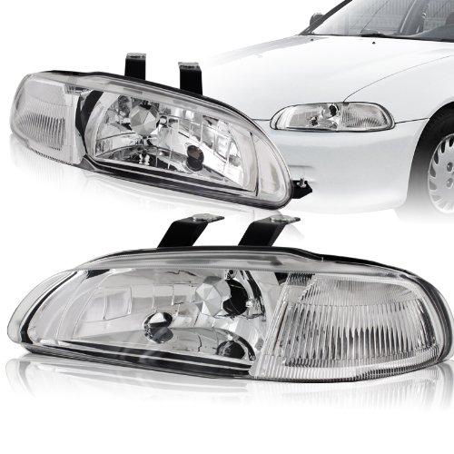 1992 - 1995 Honda Civic Chrome Housing 2-in-1 Piece headlights+Clear Corner Lights -