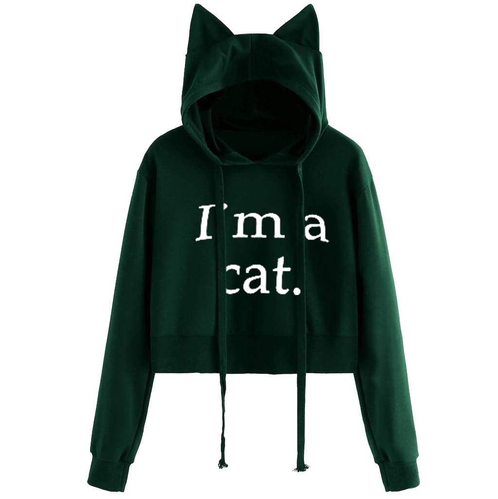 Sinzelimin Women's Cropped Drawstring Hoodie Cute Cat Ear Long Sleeve Cotton Sweatshirts Green