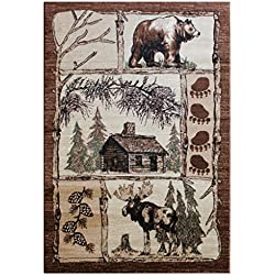 Cabin Area Rug Design Lodge 362 (3 Feet 10 Inch X 5 Feet 1 Inch)