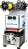 BubbleTeaology Electric Fully Automatic Tea Cup Sealing Machine 400-600 Cups/hr for Bubble Milk Tea Coffee Smoothies Plastic Paper Cup Sealer