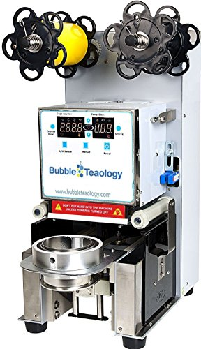 BubbleTeaology Electric Fully Automatic Tea Cup Sealing Machine 400-600 cups/hr for Bubble Milk Tea Coffee Smoothies Plastic Paper Cup Sealer (Industrial Tea Machine)