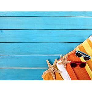 DZJYQ 6.5x5ft(2x1.5m) Blue Wood Wall Floor Orange Towel Red Sunglass Children Newborn Backdrop Photography Background 27