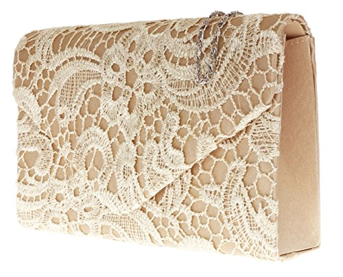 Coral Clutch Wedding Girly Shoulder Evening Womens Elegant Lace Bag Chain Satin Gift Gold HandBags tqq7T