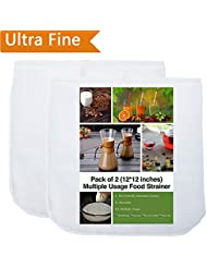 """2 Pack - 80 Micron Nut Milk Bag - 12""""X12"""" - Multiple Usage Reusable Food Strainer, Cold Brew Coffee Bag Cheesecloth, Food Grade Nylon Mesh, Filter For Almond/Soy Milk, Fruit Juice, Coffee and Tea"""