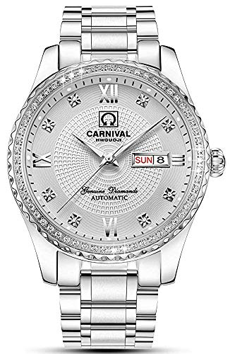 - Luxury Brand Men Automatic Mechanical Watches Diamond Stainless Steel Business Watch with Calendar