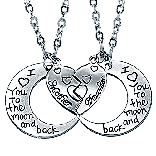 I Love You to the Moon and Back Mother Daughter Moon Love Heart Necklace Pendant 2PC,Mothers Day Gifts