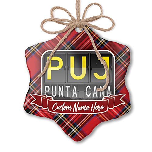 NEONBLOND Customizable Ornament PUJ Airport Code for Punta Cana add Your own Text!]()