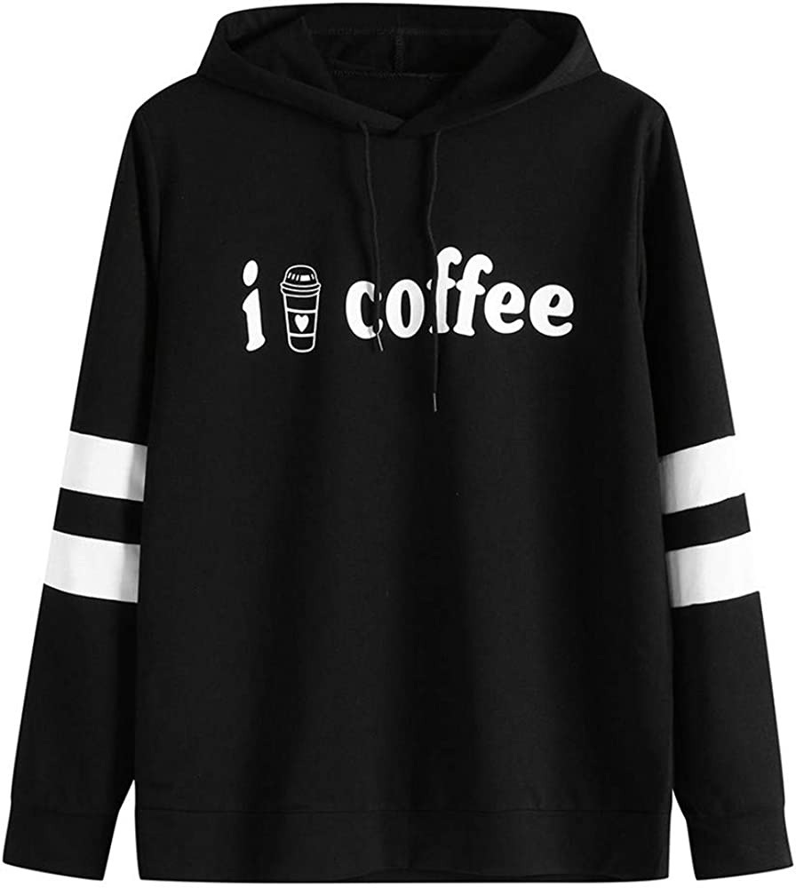 Cathalem Womens Stripe Hoodie I Love Coffee Letter Printed Long-Sleeve Pullover Sweatshirt Tops Shirt